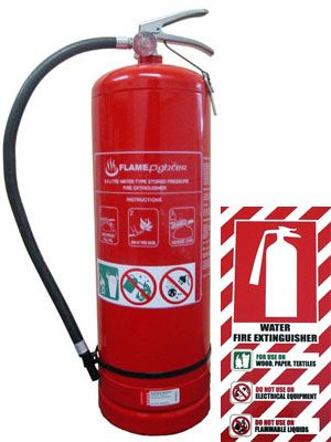 Water Gas Fire Extinguisher 9 Litre Inc Blazon Sign
